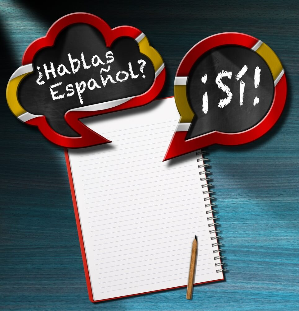 Twee tekstballonnen met Spaanse vlag en tekst Hablas Espanol? Si! (Spreek je Spaans? Ja!) Op een bureau met blanco notitieboekje en potlood. Online cursus Spaans.