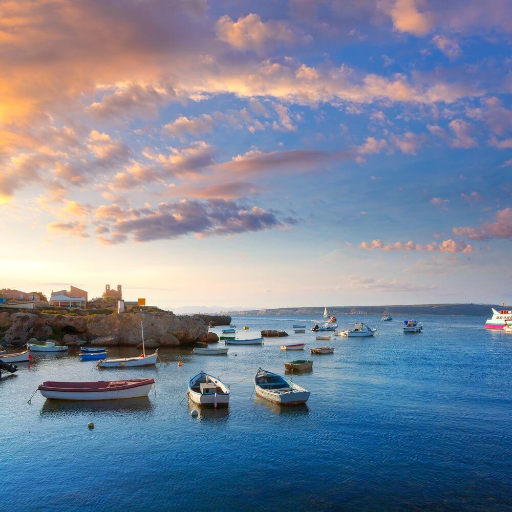 Tabarca, eilandboten in de provincie Alicante, Valencia, Spanje.